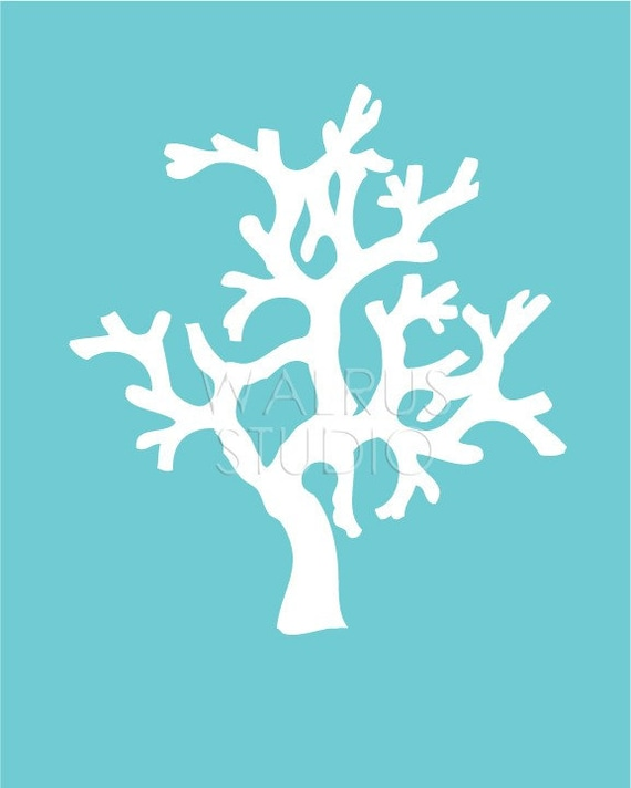Coral Silhouette On Teal Background