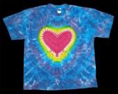 New Tie Dye T Shirt Gildan xL Pink HEART on BLUE & PURPLE