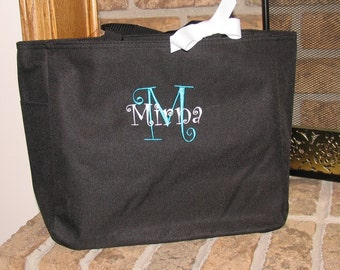 Personalized Embroidered Zippered Tote Bag Great Bridal