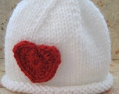 "I ""Heart"" You Hat in White, Red, or Pink for Baby:  Newborn, 3 - 6 Months, 6 -12 Months Valentine's Day"