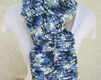 Cozy Fleece Scarf in Icicles (Blue, White) READY TO SHIP