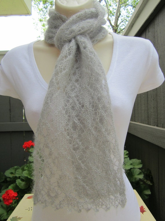 Mohair and Silk Lace Scarf in Silver Sparkle (Gray)