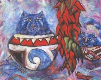 Blue Corn Kitties - Red or Green