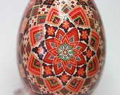 Traditional Rose Pattern Goose Pysanky in Scarlet and Dark Red