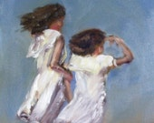 original oil painting of two young girls in white dresses