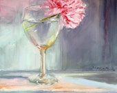 original oil painting still life pink flower in wine glass canvas art