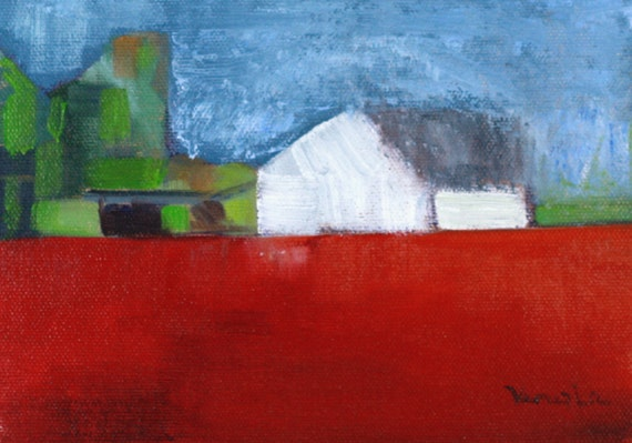 original art landscape oil painting abstract farm with white barn on red canvas art home decor kitchen wall art daily painting