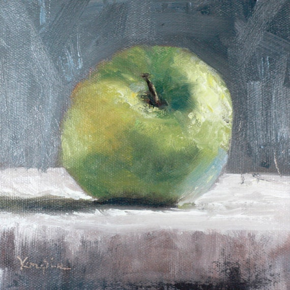 oil painting still life canvas art paintings on canvas green granny smith apple home decor kitchen art