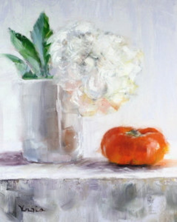 original art oil painting white flower and persimmon canvas art still life