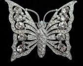 Stunning Large 1940's Butterfly Rhinestone Brooch