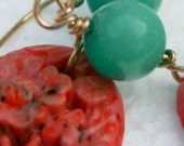 Vintage Rare Carved Coral Cabochon and Jace Earrings