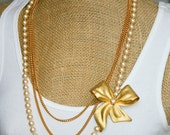 Bows and Pearls Vintage Redesign Necklace