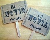 The ORIGINAL La Novia/ El Novio- Recien Casados- Wedding - Double Sided Photo Props Sign on Kraft Paper - Set of 2