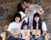 my ORIGINAL Family Style Save The Date Card Double Sided Photo Booth Props on Kraft Paper- Set of 3 or More