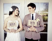 The ORIGINAL Mr and Mrs - Thank You - Double Sided Wedding Photo Prop Signs on Kraft Paper - Set of 2