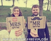 The ORIGINAL-The Mr/The Mrs- Mustache/ Lips- Thank You Double Sided Wedding Photo Props Signs on Kraft Paper- Set of 2