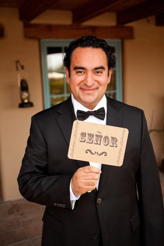 The ORIGINAL Senor and Senora - Muchas Gracias - Wedding - Double Sided Photo Props Sign on Kraft Paper - Set of 2