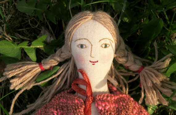 The Fabric Doll Francesca Has a New Pink Cardigan  RESERVED for Anne-Maria