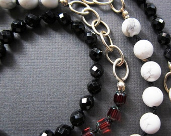 red black white on chain - the sadie necklace