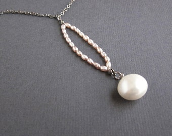 pastel pink freshwater pearls and oblong pearl dangle - the aria necklace