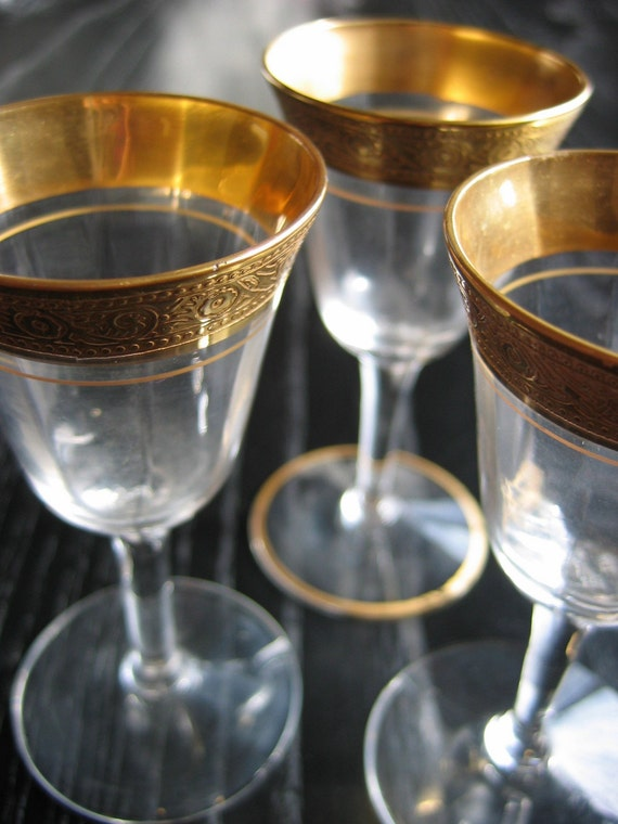 Three vintage Gold encrusted cordials.  Tiffin, crystal, stemware.