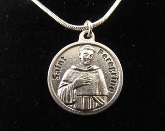 Catholic St Peregrine Heal Cancer Necklace and Prayer Card