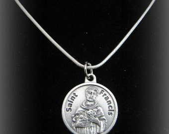 Silver Catholic St. Francis Necklace with Prayer - Pray for our new Pope St Francis