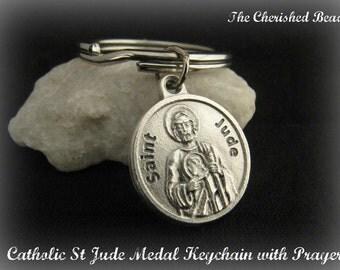 Catholic St Jude Medal Keychain with Prayer