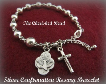 Silver Catholic Confirmation Rosary Bracelet with Holy Spirit Medal
