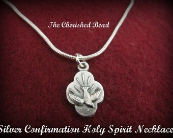 Silver Catholic Confirmation Holy Spirit Necklace