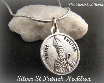 Silver Saint Patrick Medal Necklace with Prayer