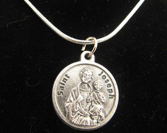 Silver Saint Joseph Medal Necklace with Prayer