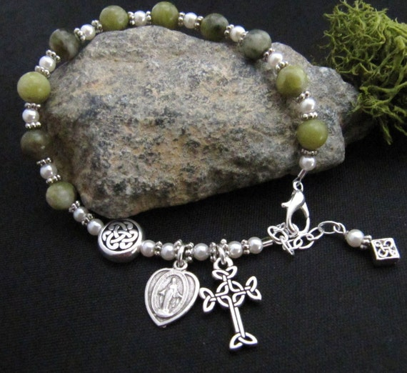 Connemara Marble and Pearl Celtic Irish Rosary Bracelet