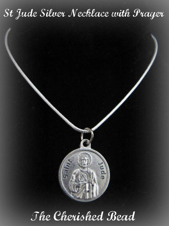 silver catholic st jude necklace with prayer on back