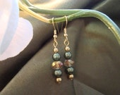 Spring green pearls and gold crystal earrings