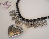 Black Agate and Heart Charm Necklace