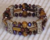 Triple Strand Tiger Eye and Crystal Bracelet