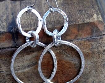 Double link Earrings Artisan Handmade Sterling SIlver