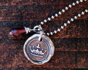 Wax Seal Style Crown NECKLACE Sterling Silver
