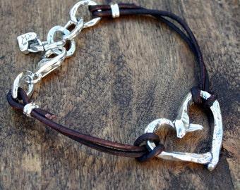 Heart Bracelet Sterling and Leather Bracelet
