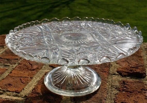 English vintage pressed glass pedestal cake stand