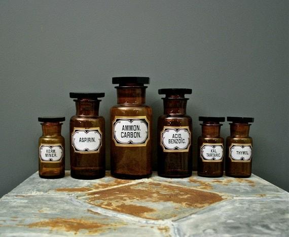 Set of 6 Art Nouveau Tortoise Shell Glass Pharmacy Bottles from Europe