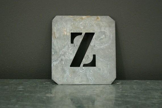 Vintage Zinc Stencil Letter Z