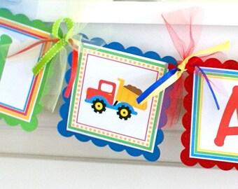 Trucks Age Banner, Trucks Party Decorations, Boy Birthday Banner