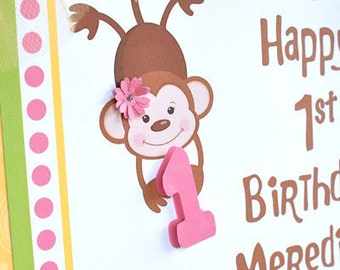 Little Monkey. Door Sign, Personalized