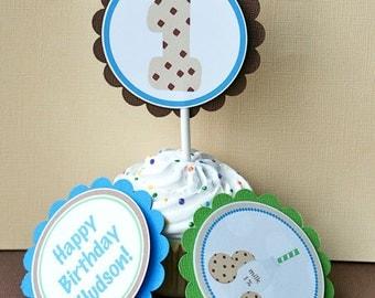 Cookies & Milk, Cupcake Toppers, set of 12