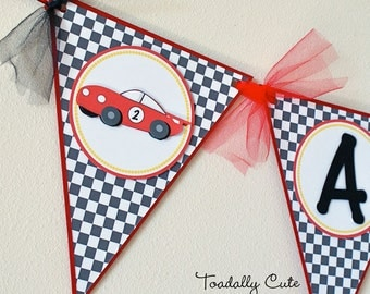 Race Car Birthday Banner, Race Car Party, Checkered Flag Banner, Red Race Car Name Banner
