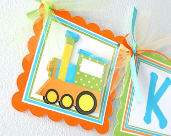 Trains, Name Banner with Age, personalized
