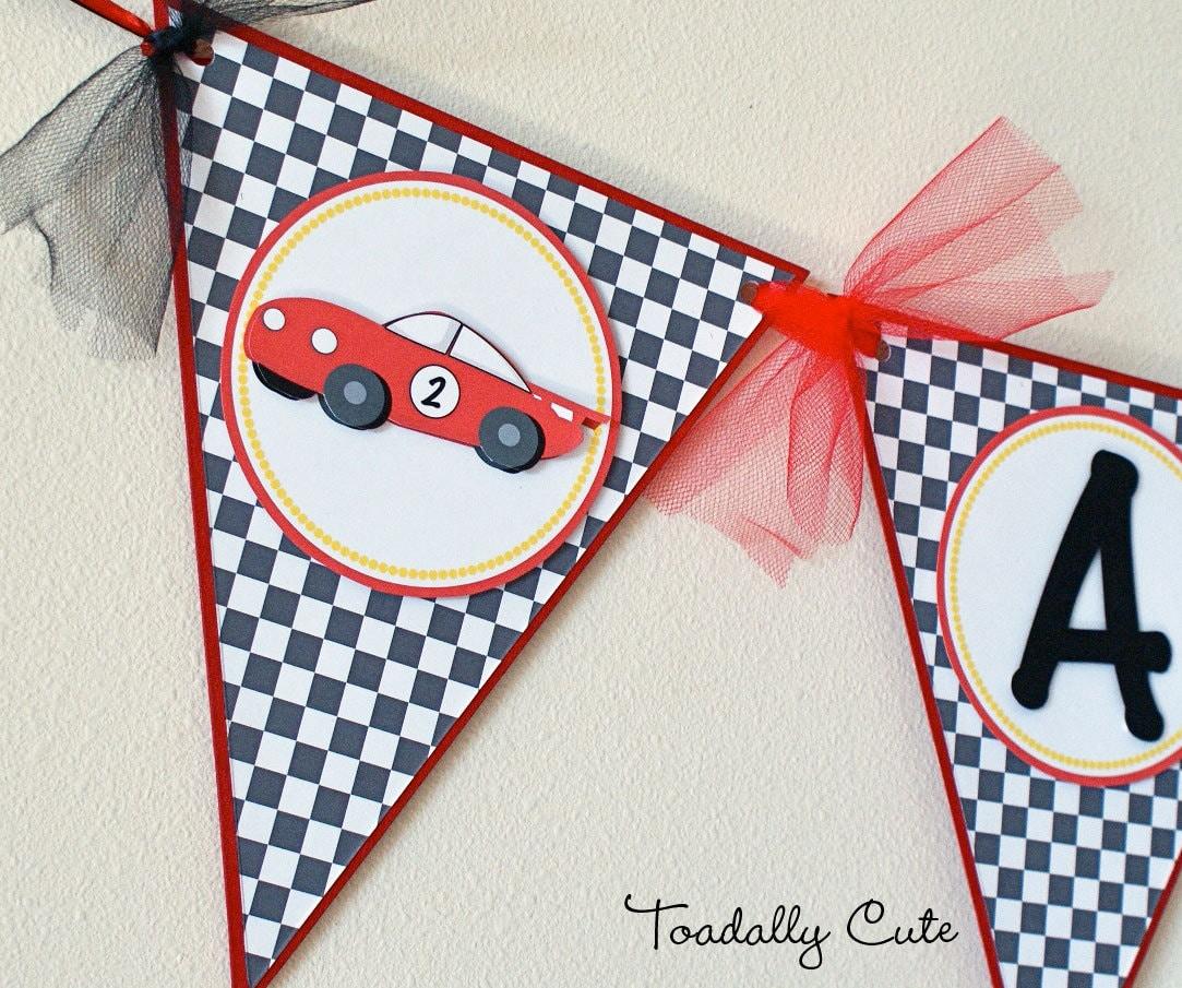 Race Car Birthday Banner Race Car Party Checkered Flag
