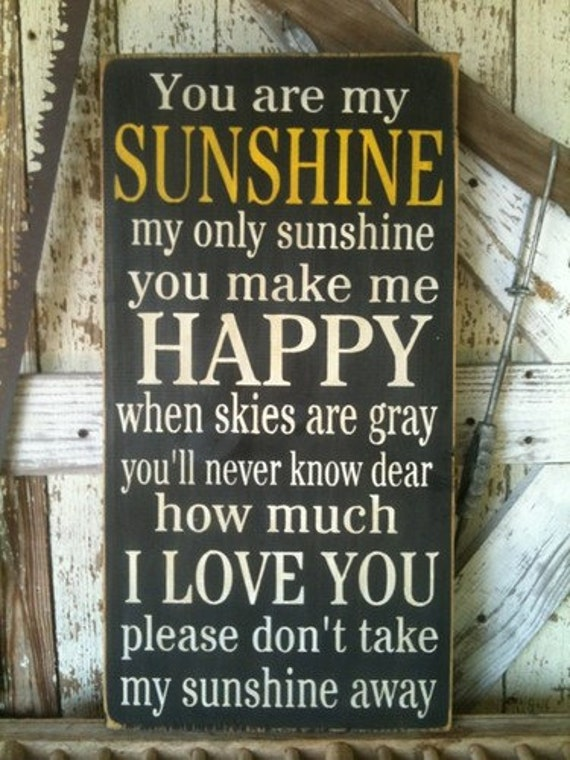 You Are My Sunshine Subway Art Stenciled Sign